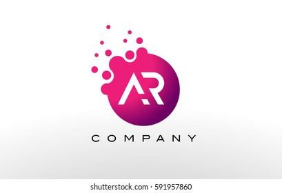 AR Letter Dots Logo Design with Creative Trendy Bubbles and Purple Magenta Colors.