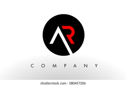 AR Logo Letter Design Vector with Red and Black Colors.