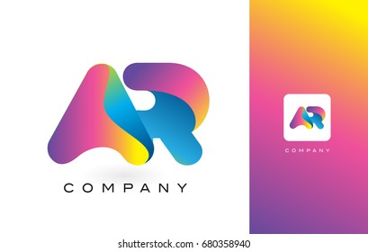 AR Logo Letter With Rainbow Vibrant Colors. Colorful Modern Trendy Purple and Magenta Letters Vector Illustration.