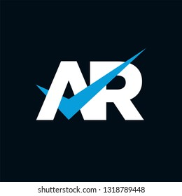 AR Logo of the Letter Tick Blue Initial Capital Designs Template