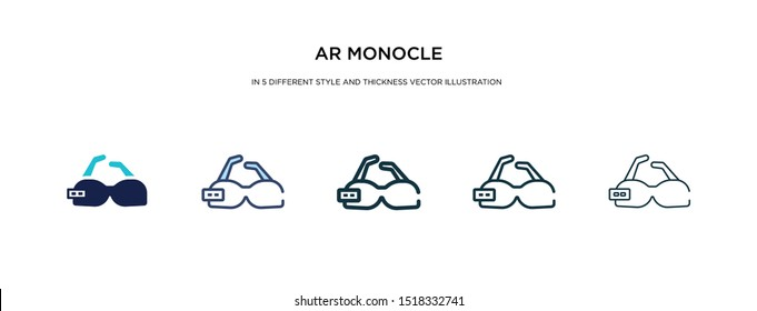 ar monocle icon in different style and thickness vector illustration. Two colored and black ar monocle vector icons in filled, outline, line, stroke style can be used for web, mobile, UI