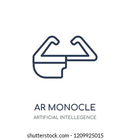 Ar monocle icon. Ar monocle linear symbol design from Artificial Intellegence collection.