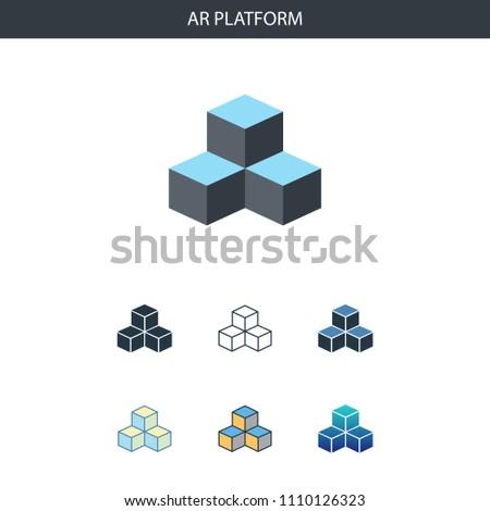 AR Platform Concept All Styles Simple Stock Vector (Royalty