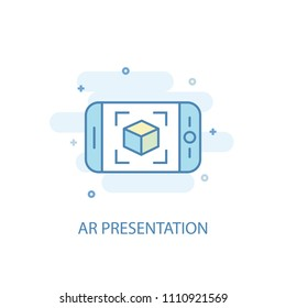 AR presentation concept trendy icon. Simple line, colored illustration. AR presentation concept symbol flat design from Augmented reality set. Can be used for UI/UX