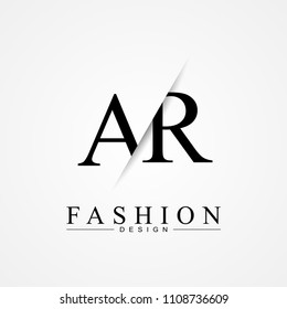 AR A R cutting and linked letter logo icon with paper cut in the middle. Creative monogram logo design. Fashion icon design template.