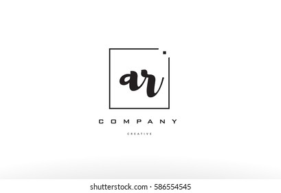 ar a r hand writing written black white alphabet company letter logo square background small lowercase design creative vector icon template