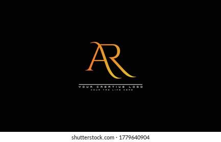 AR RA abstract vector logo monogram template