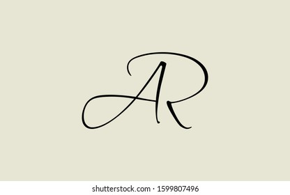 ar or ra and a or r Cursive Letter Initial Logo Design Template Vector Illustration