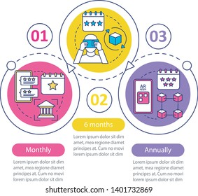 AR tool subscription vector infographic template. Business presentation design elements. Monthly tariff. Data visualization, three step, option. Process timeline chart. Workflow layout, icons