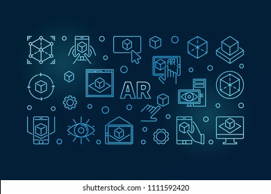 AR vector blue horizontal illustration or banner made with augmented reality outline concept icons on dark background