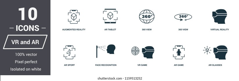 AR and VR icons set. Premium quality symbol collection. AR and VR icon set simple elements. Ready to use in web design, apps, software, print