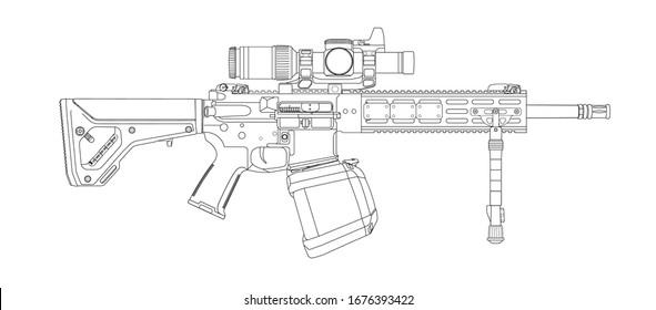 AR15 Heavy Support Rifle Lineart vector