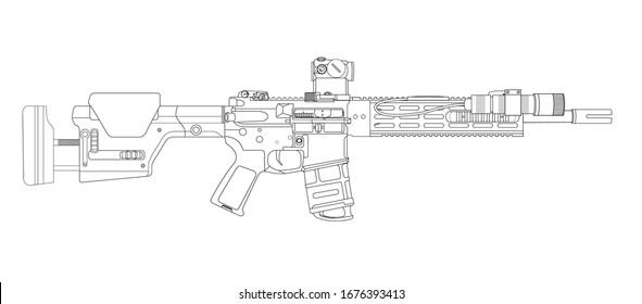 AR15 Marksman Rifle Lineart vector