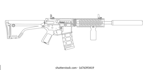 AR15 Rifle SD Lineart vector
