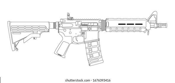 AR15 Stock Rifle Lineart vector