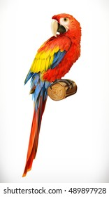 Ara parrot. Macaw. Photo realistic, 3d vector icon