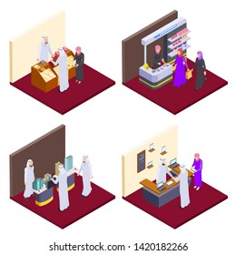 Arab 3d people, isometric arabs shopping vector concepts. Illustration of arabic buy jewelry and cosmetics