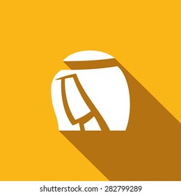 Arab. Arabic Man icon. Qatar, Kuwait abstract Sheikh profile head. Islam Religion. Saudi Clothing. Vector Cartoon Illustration