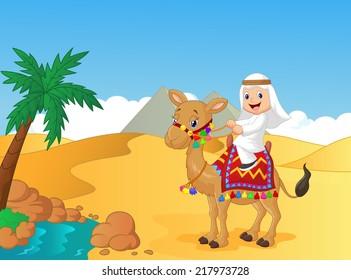Arab boy riding camel