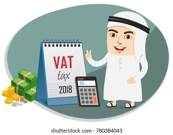 Arab Business Man implemented 5 percent Value Added Tax VAT imposed by Saudi UAE Government from 2018. Calculating the Tax.