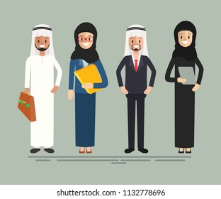 arab business people character teamwork and meeting. businessman and businesswoman in job.