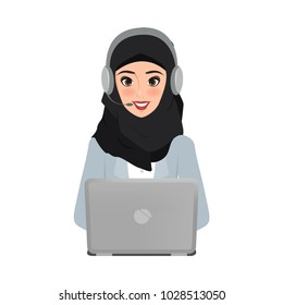 arab business woman in call center to customer service character. vector people illustration design.