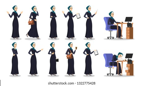 Arab business woman set. Collection of lady in hijab work on computer, smile and pointing somewhere. Isolated vector cartoon illustration