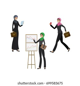 Arab business women in different activities- running, presenting, standing,cartoon vector illustration