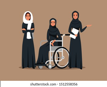 Arab business women work together with disabled woman.  Muslim female employees wearing hijab and black abaya working at office. Vector illustration.
