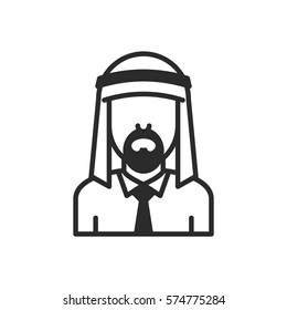 Arab Businessman. Avatar. Vector Icon