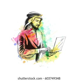Arab businessman in business concept Working On A notebook, Hand Drawn Sketch, Vector Background.