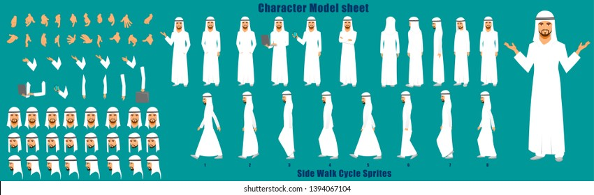 Arab Businessman Character Model sheet with Walk cycle Animation Sequence
