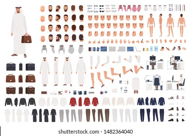 Arab businessman or clerk in traditional Muslim clothes constructor set or DIY kit. Bundle of body parts, emotions, gestures. Male cartoon character. Front, side, back views. Flat vector illustration.