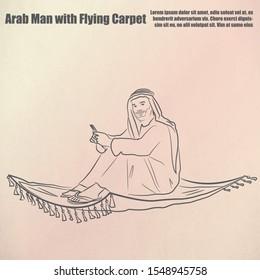 Arab businessman flying on a magic carpet vector outline drawing illustration.