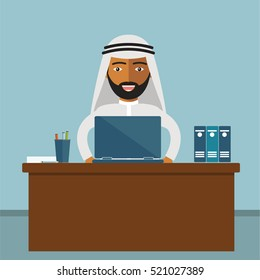 Arab Businessman Sitting Office Desk Working Laptop Computer Flat Vector Illustration.