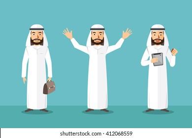Arab Businessman standing cartoon characters. Flat illustration