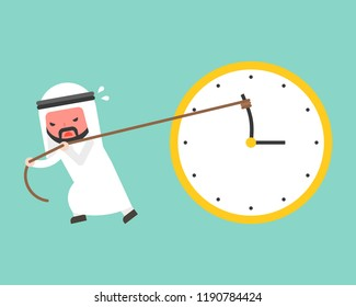 Arab businessman try hard to pull back minute hand anti clockwise by rope, flat design vector turn back time concept