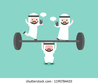 Arab businessman try to weigh lifting barbell with another playing cellphone on barbell, flat design business situation about slack off and take advantage co worker concept
