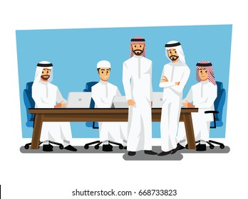 Arab businessman wearing traditional clothing Having Board Meeting,Vector illustration cartoon character