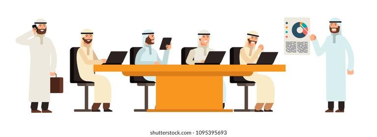 Arab businessmans group at table in bisiness meeting. Arabic saudi men cartoon vector characters. Group businessman saudi team in office illustration