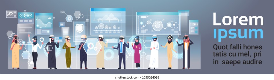 Arab Businesspeople Group In 3d Glasses Using Futuristic User Interface Virtual Reality Technology Concept Horizontal Banner With Copy Space