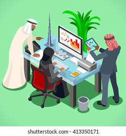 Arab Businesspeople Society members variety diverse by job, sex, post and function at working place. Flat 3D Middle Eastern Isometric People set. Boss, manager, secretary and accountant Vector Image