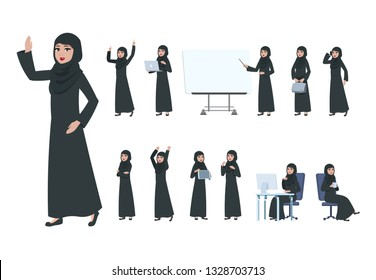 Arab businesswoman. Saudi muslim business woman character. Islam arabian female in business activity, cartoon office lady vector set