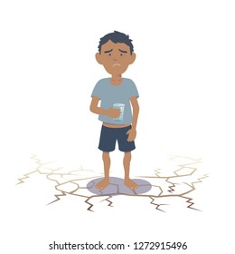 Arab child suffering from lack of water. Southeast Asian child suffering from lack of water. Flat vector illustration.