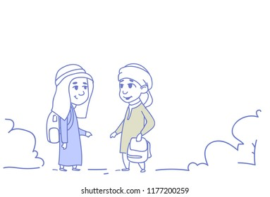 arab children girl boy couple small cartoon pupils friendship concept arabic students sketch doodle horizontal vector illustration