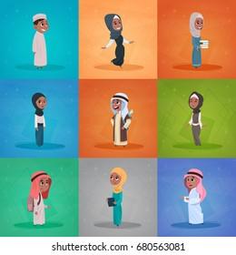 Arab Children Girls And Boys Set Small Cartoon Pupils Collection Muslim Students Flat Vector Illustration
