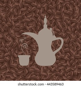 Arab coffee pot on background of seamless pattern of coffee beans- vector illustration.EPS 10