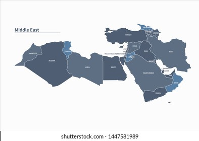 arab countries map. vector of middle east countries map