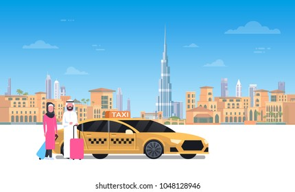 Arab Couple Sitting In Yellow Taxi Car Over Dubai City Background