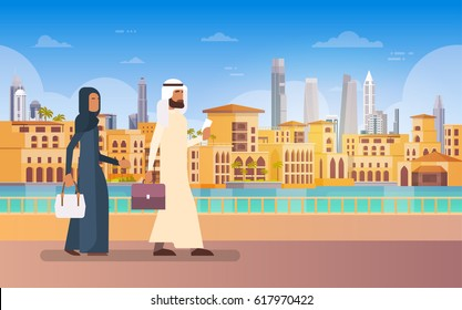 Arab Couple Walking Dubai, Modern Building Cityscape Skyline Panorama Business Travel And Tourism Concept Flat Vector Illustration